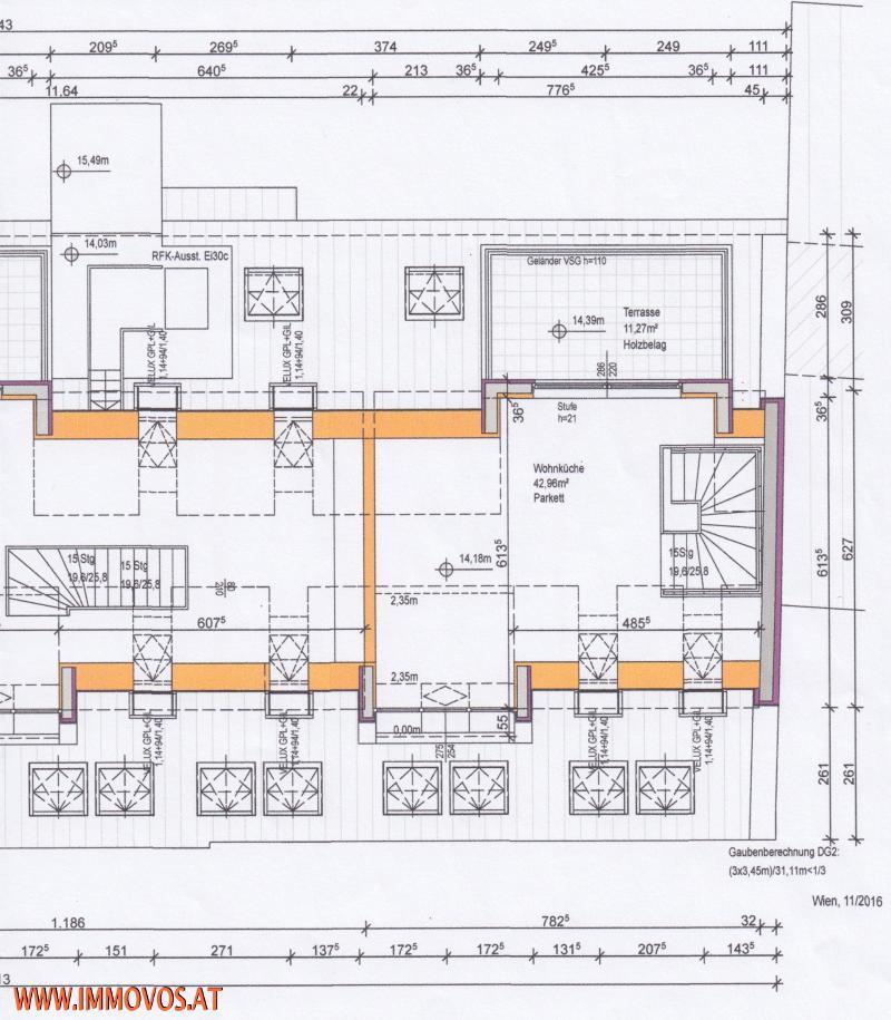 Plan vom Wohnraum auf Ebene 2