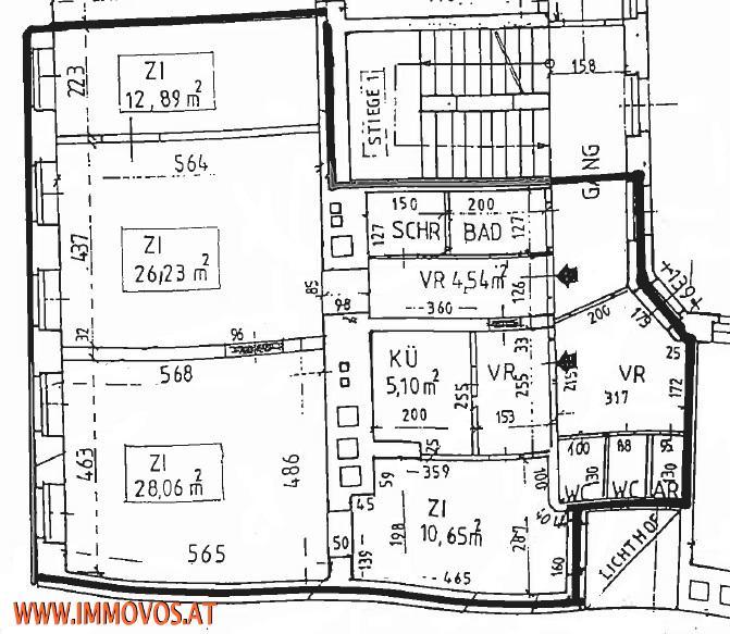 Amerikanische Botschaft - Rohdiamant - unsanierte 3,5  Zimmer Familienwohnung mit Nebenräumen in gepflegtem Altbau /  / 1090Wien 9.,Alsergrund / Bild 3