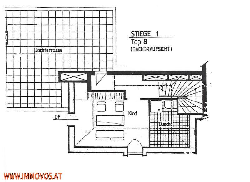 Grundriss Ebene Terrasse mit Schlafzimmer und 2. Bad