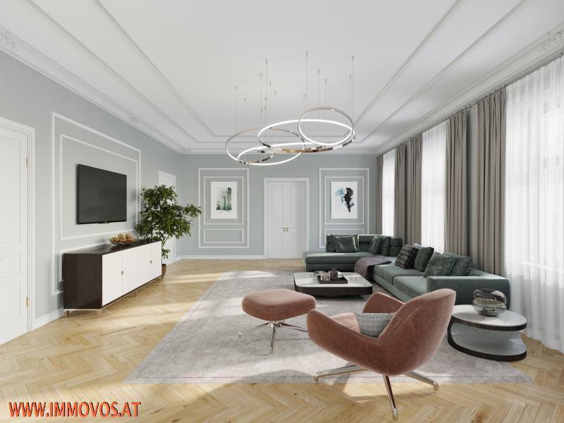 Rendering-Vorschlag für den Wohnsalon