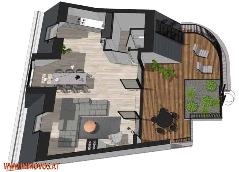 360 Grad Rundgang: Fantastisches Panorama von Penthouse-Terrasse - 4 Zimmer Erstbezug mit Dachterrassen-Traumblick + Stellplatz /  / 1090Wien 9.,Alsergrund / Bild 2