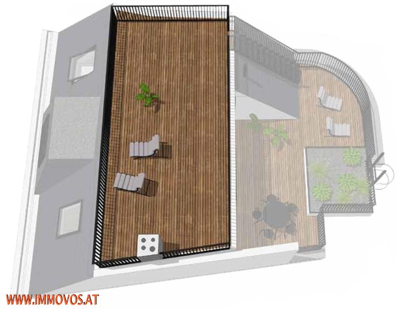 360 Grad Rundgang: Fantastisches Panorama von Penthouse-Terrasse - 4 Zimmer Erstbezug mit Dachterrassen-Traumblick + Stellplatz /  / 1090Wien 9.,Alsergrund / Bild 3