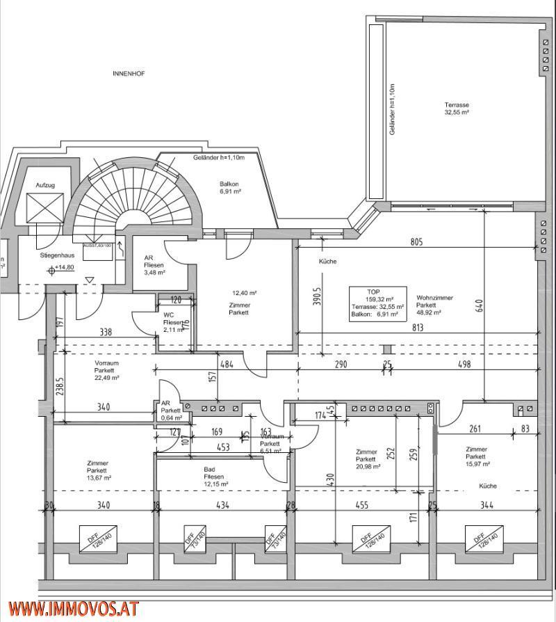 Exquisiter 4 Zimmer DG-Erstbezug mit 2 Terrassen und Grünblick zentral im 8. !! Nur 1e Ebene !! /  / 1080Wien 8.,Josefstadt / Bild 1