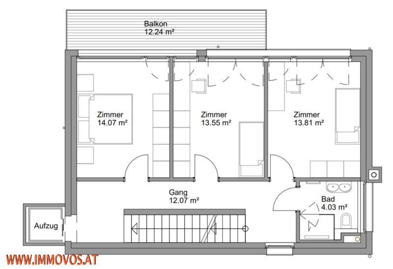 Plan von Ebene 2 mit Kinderzimmern