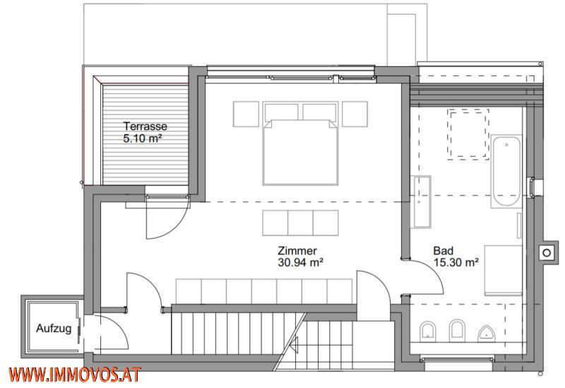 Plan von Ebene 3 mit Masterbedroom