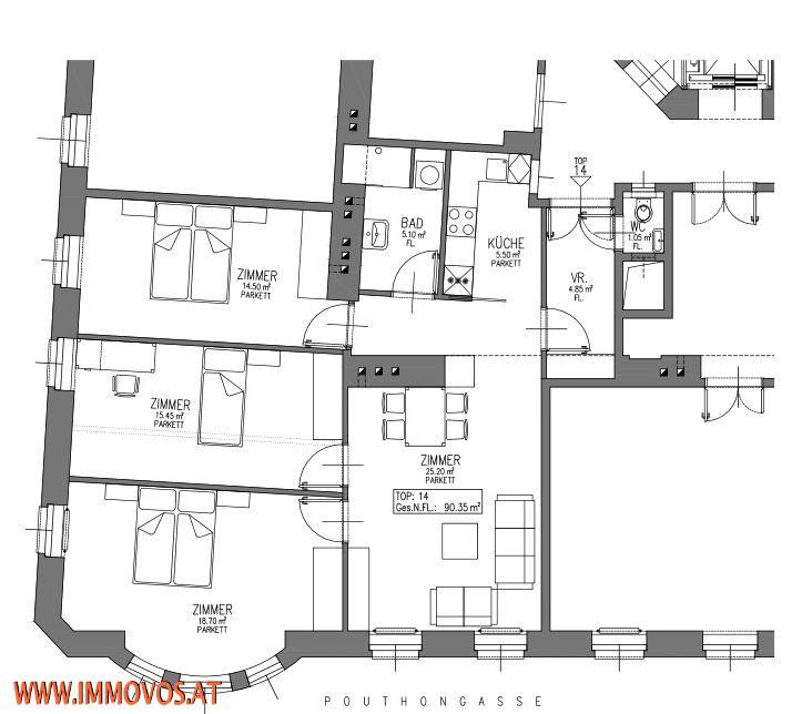 +FAMILIENGLÜCK-ANKOMMEN-90M² KERNSANIERTE 4 ZIMMERWOHNUNG NÄHE U6 SCHWEGLERSTRAßE- BURGGASSE-STADTHALLE, 1150 WIEN /  / 1150Wien 15.,Rh-Fh / Bild 6