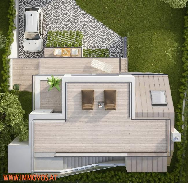 Draufsicht Dachterrasse Rendering