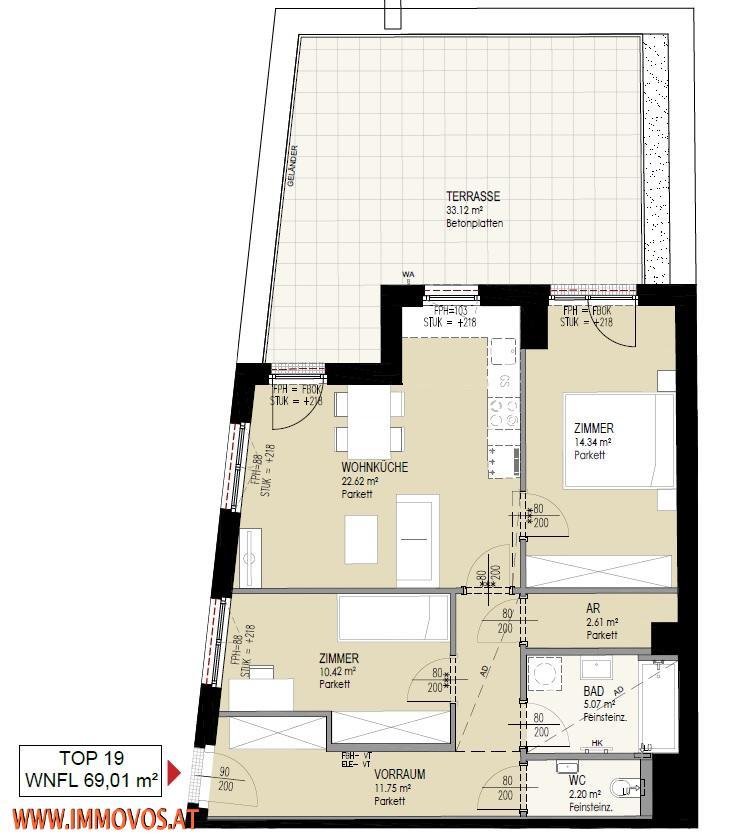 33 m2 Traumterrasse + Erstbezug im grünen Rodaun: 3 Zimmer Wohnung mit sonniger Freifläche zu vermieten + Garagenplatz /  / 1230Wien 23.,Liesing / Bild 7