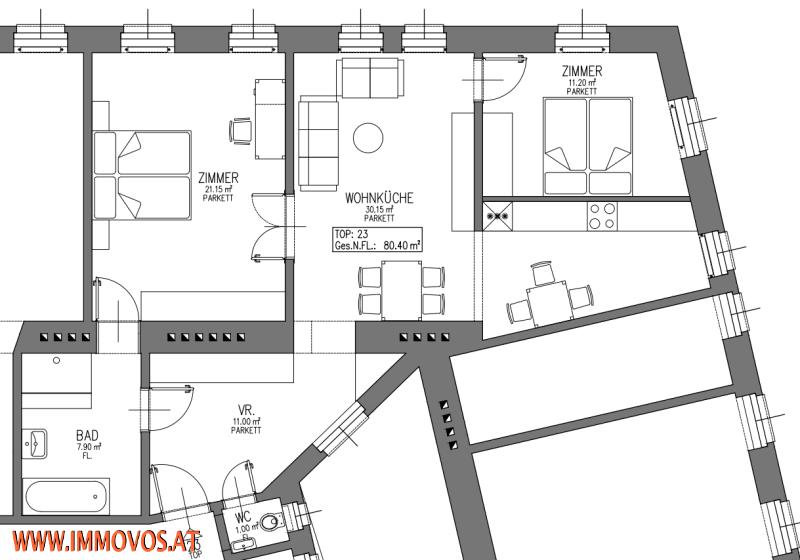 +ANKOMMEN+WOHNFÜHLEN ++ 41m²-2-ZIMMERWOHNUNG PLUS 6,80M² HOFSEITIGER BALKON NÄHE U3  HÜTTELDORFER STRASSE, 1140 WIEN /  / 1140Wien 14.,Penzing / Bild 9
